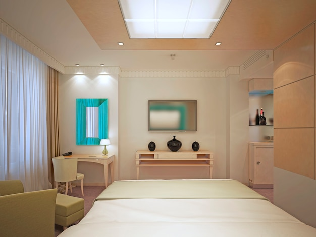 Schönes hauptschlafzimmer im art-deco-stil. elegantes, flaches interieur. helle wände, aprikosendekorateure. 3d-rendering