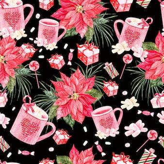 Schönes helles aquarell-neujahrsmuster mit weihnachtsblume und -geschenken illustration