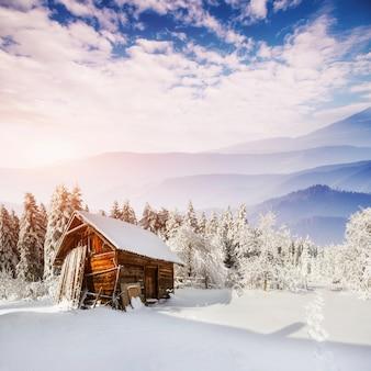 Schönes holzhaus in einem winter