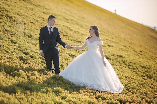 Schönes junges hochzeitspaar des bräutigams und der braut, die auf dem gelben hügel stehen
