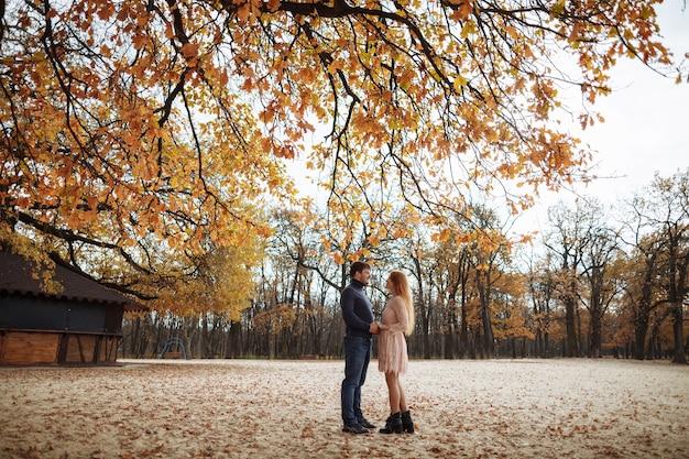 Schönes junges verliebtes paar, das glücklich auf dem hintergrund der gelben blätter auf den bäumen lächelt