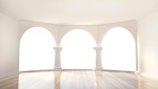 Schönes, klassisches interieur mit einer terrasse, 3d-illustration, 3d-darstellung.