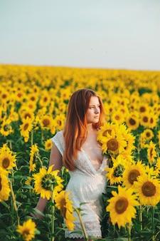 Schönes mädchen auf einem sehr großen gelben gebiet der sonnenblumen.
