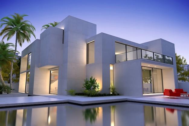 Schönes modernes luxushaus mit pool