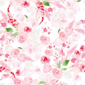 Schönes nahtloses aquarellmuster mit rosen und pfingstrosenblumen.