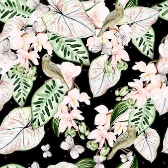 Schönes nahtloses aquarellmuster mit tropischen blättern, orchideenblume, vogel und schmetterling. illustration