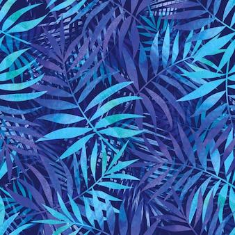 Schönes nahtloses muster mit blauen tropischen blättern.
