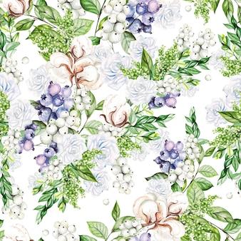 Schönes nahtloses muster mit zarten rosen des aquarells und schneebeere, baumwolle und blaubeeren. illustration