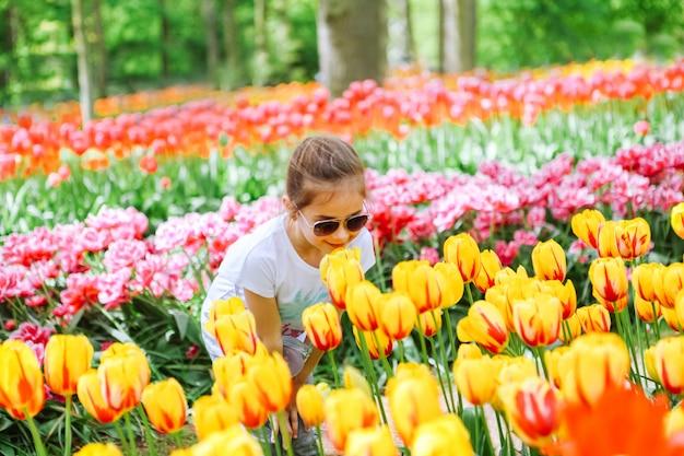 Schönes niederländisches mädchen, das tulpenblume auf tulpenfeldern riecht. kind im tulpenblumenfeld in holland. kind in der magischen niederländischen landschaft mit tulpenfeld im keukenhof. reise- und frühlingskonzept.