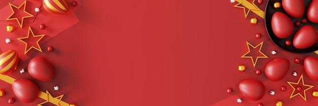 Schönes osterei auf rot