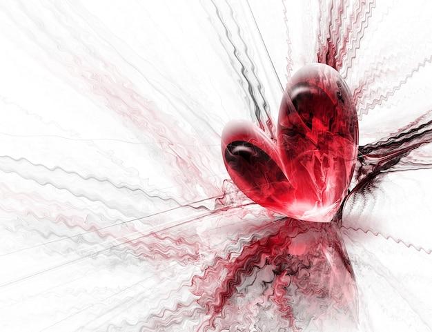 Schönes rotes herz auf abstraktem hintergrund
