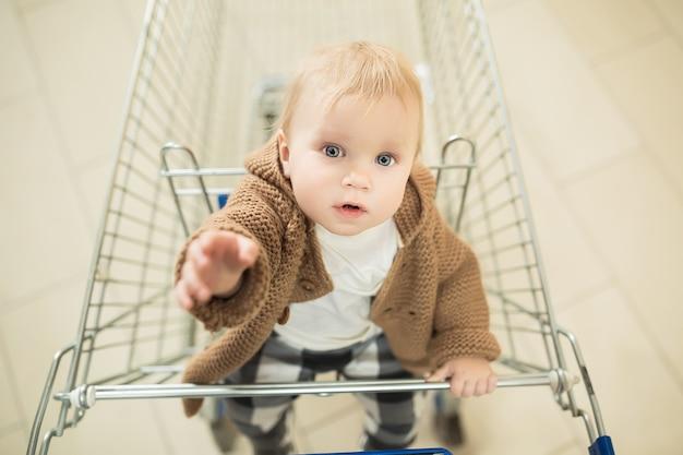 Schönes und entzückendes baby im einkaufswagen - trolley, das in die kamera schaut und zum kauf auffordert. kleines kind mit blauen augen beim einkaufen und zieht hände
