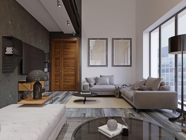 Schönes und großes wohnzimmer im hipster-design mit holzböden und gewölbter decke in einem neuen luxushaus. eingangsbereich und zweiter dachbodenbereich. 3d-rendering.