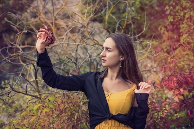 Schönes und süßes mädchen in der nähe von buntem laubbusch in einem park, herbstatmosphäre