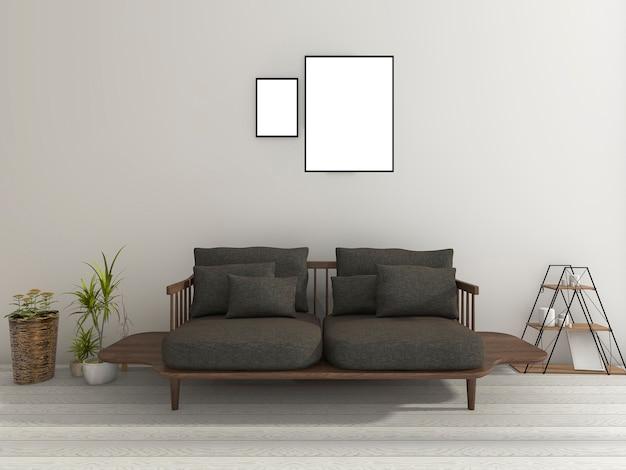 Schönes weiches schwarzes sofa mit anlage im netten wohnzimmer