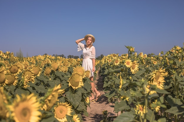 Schönheit sonnenbeschienene frau auf gelbem sonnenblumenfeld freiheits- und glückskonzept glückliches mädchen im freien