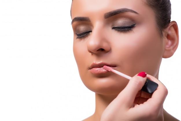 Schönheit während der make-upkosmetiksitzung