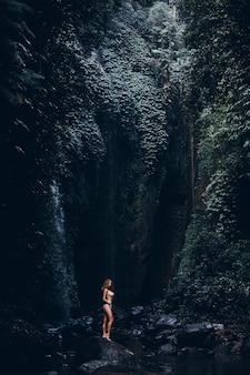 Schönheitsfrau, die im wasserfall, bikini, erstaunliche natur, porträt im freien aufwirft