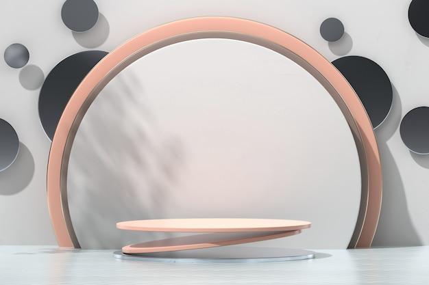 Schönheitskosmetik plattform bühne podium für produktanzeige schaufenster 3d-rendering