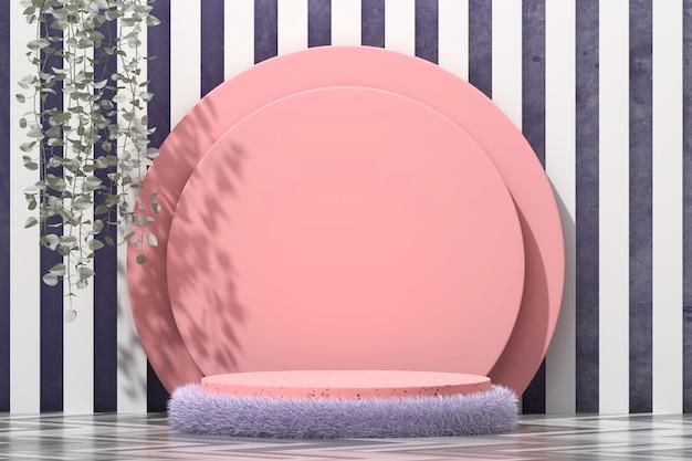 Schönheitskosmetikfellplattform-bühnenpodest für produktanzeige mit efeu-schaufenster 3d rendern