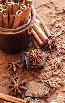 Schokolade, kakao, zimt und sternanis. selektiver fokus