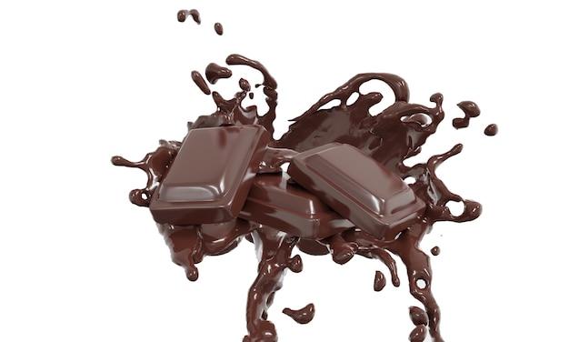 Schokolade spritzt in der mitte schokolade steht, isoliert auf weißem hintergrund, in 3d-rendering. lebensmittelkonzept.