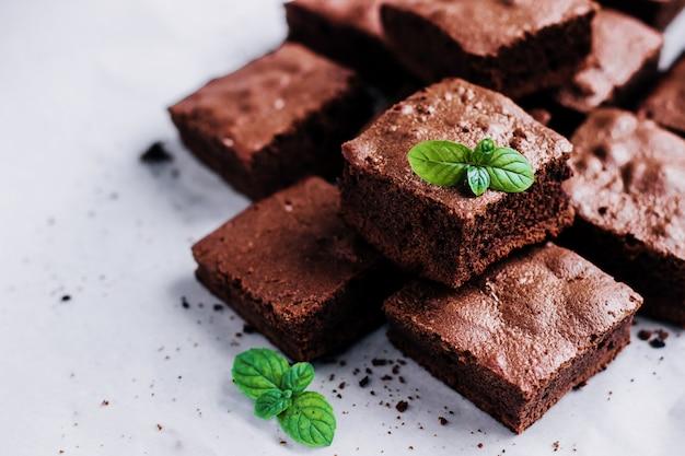 Schokoladen-brownie-kuchen hautnah