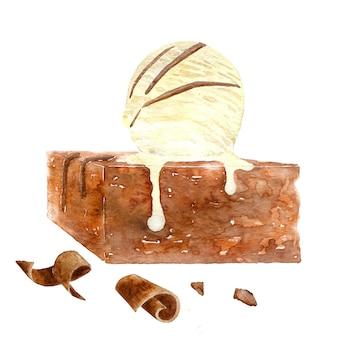 Schokoladen-brownie mit vanilleeis
