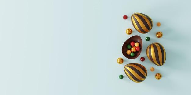 Schokoladen-ostereier auf blau