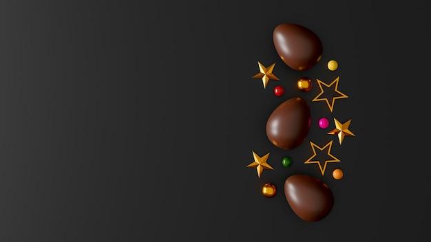 Schokoladen-ostereier auf dunklem hintergrund. draufsicht. flach liegen. 3d-illustration