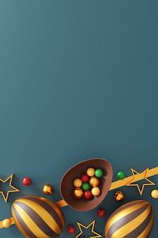 Schokoladen-ostereier auf grün