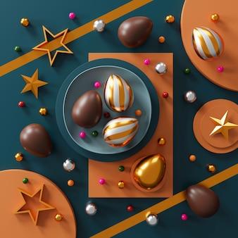 Schokoladen-ostereier auf grünem dunklem tisch. draufsicht. flach liegen. 3d-rendering