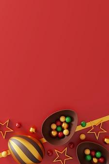 Schokoladen-ostereier auf rot