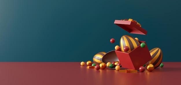 Schokoladen-ostereier und geschenkbox auf grün