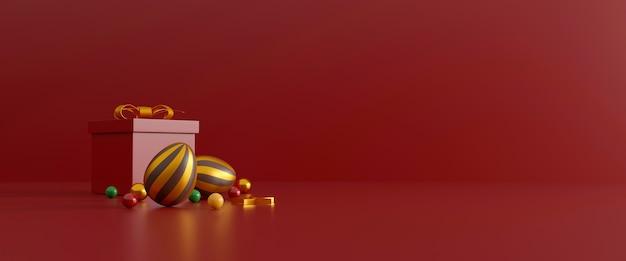 Schokoladen-ostereier und geschenkbox auf rot