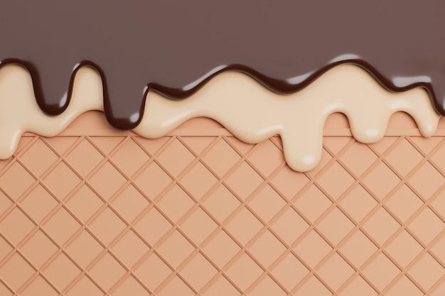 Schokoladen- und vanilleeis geschmolzen auf waffelhintergrund,