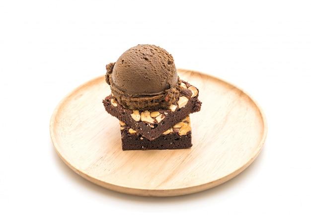 Schokoladenbrownies mit schokoladeneis