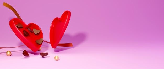 Schokoladenherz geformte schachtel auf rosa hintergrundfeierkonzept für glückliche frauen, vatermutter, süßes herz,