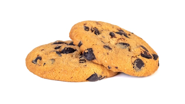 Schokoladenkekse lokalisiert auf weiß. süße kekse.