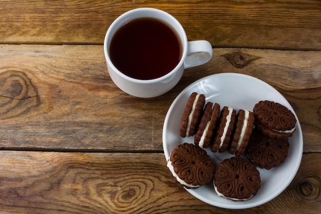 Schokoladensandwiche, draufsicht
