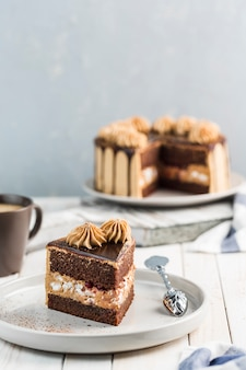 Schokoladenschwammkuchen auf einem hellen hintergrund
