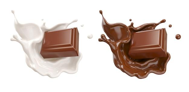 Schokoladenstücke, die auf schokoladensoße und milchcreme spritzen 3d illustration fallen.