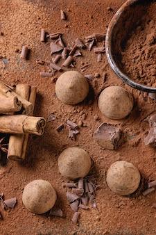 Schokoladentrüffel mit kakaopulver