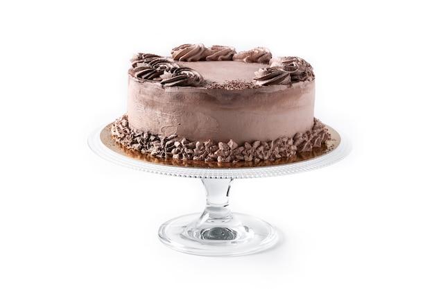 Schokoladentrüffelkuchen isoliert auf weißem hintergrund