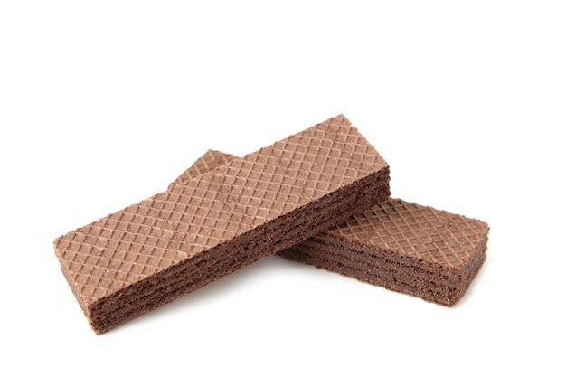 Schokoladenwaffeln auf weiß