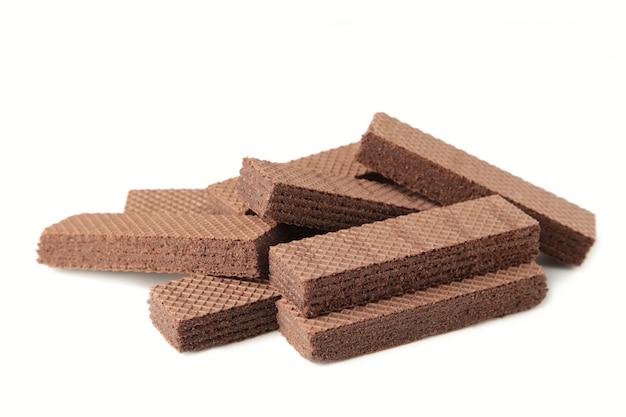 Schokoladenwaffeln lokalisiert auf weiß