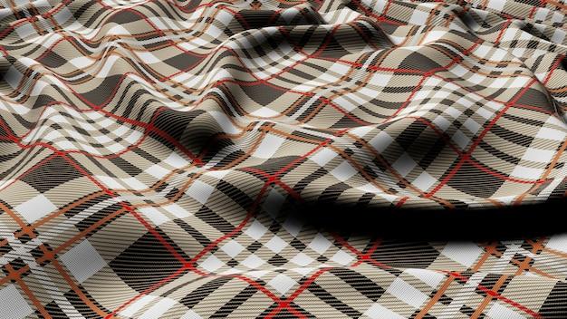 Schottisches plaid grauweiß mit rot-weiß kariertem klassischem tartan-karo nahtlosem stoff 3d gerendert.