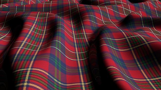 Schottisches plaid grün rot kariert klassischer tartan check nahtloser stoff 3d gerendert.