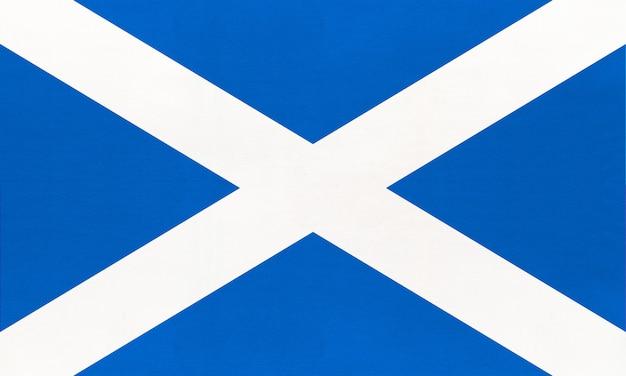 Schottland nationale stoffflagge, textilhintergrund. symbol des internationalen weltlandes des vereinigten königreichs.