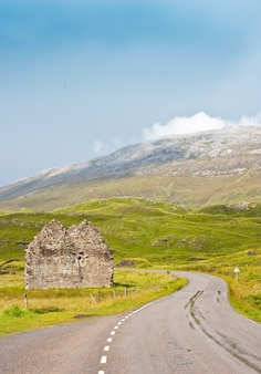 Schottland, sutherland. straße prospektiv, nützliches konzept der reise